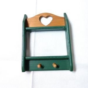 TINY Vintage Wood Country Heart Display Shelf